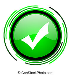 accept green circle glossy icon