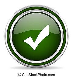 accept green glossy web icon