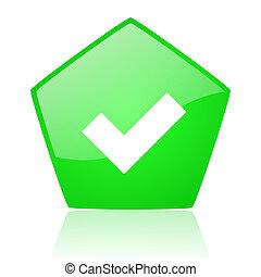 accept green pentagon web glossy icon