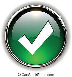 Accept icon, button - Accept green icon, button