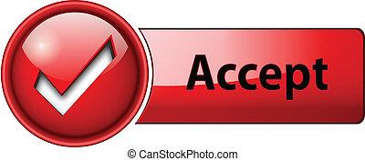 accept icon, button - accept mark icon, button, red glossy.