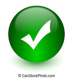 accept icon - green glossy web icon