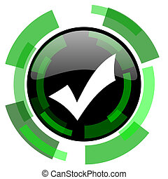 accept icon, green modern design isolated button, web and mobile app design illustration