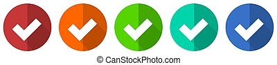 Accept icon set, red, blue, green and orange flat design web buttons isolated on white background, vector illustration