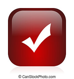 accept icon - square red glossy icon