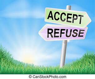 Accept or refuse sign concept