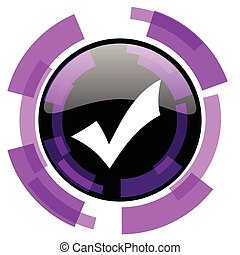 Accept pink violet modern design vector web and smartphone icon. Round button in eps 10 isolated on white background.