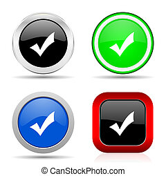 Accept red, blue, green and black web glossy icon set in 4 options