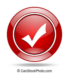 accept red web glossy round icon