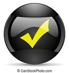 accept round black web icon on white background