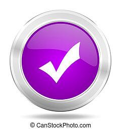 accept round glossy pink silver metallic icon, modern design web element