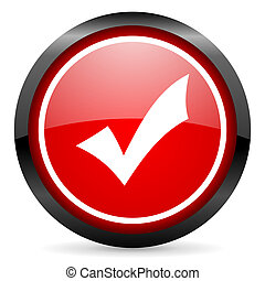 accept round red glossy icon on white background
