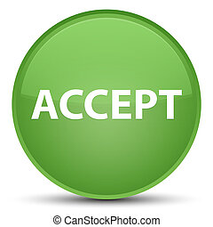 Accept special soft green round button