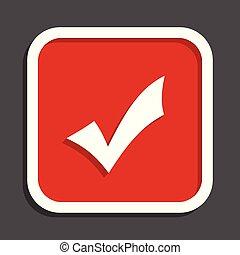 Accept vector icon. Flat design square internet red button.