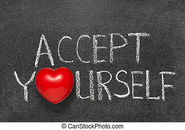 accept yourself chb - accept yourself phrase handwritten on...