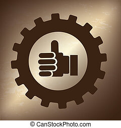 acceptance gesture over bronze background vector...