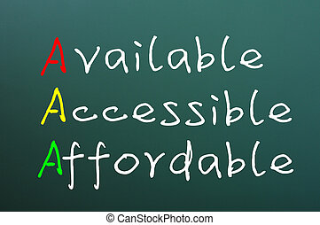 accesible, siglas, aaa, disponible, affordable