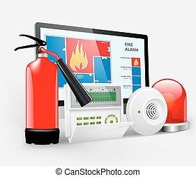 acceso, -, alarma de incendios
