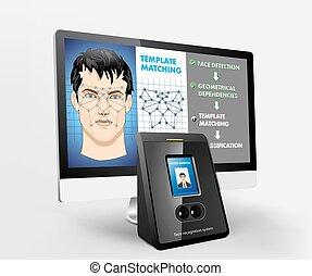 acceso, biometric, -, reconocimiento, cara