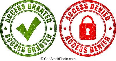 acceso, estampilla, granted, negado