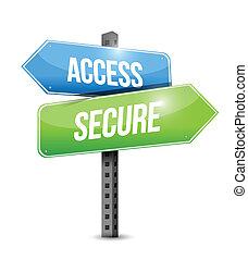 acceso, seguro, señal, ilustración, diseño