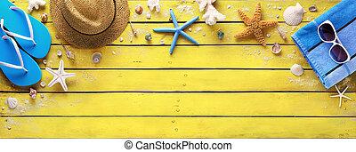 accesorios, de madera, amarillo, playa