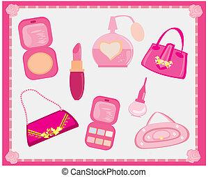 accesorios, moda, vector, conjunto
