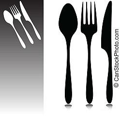 accesorios, para, el, cenar, vector
