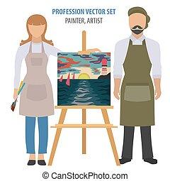 accesorios, plano, set., icono, ocupación, pintor, artista, profesión del diseño