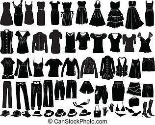 accesorios, vestidos, tarde