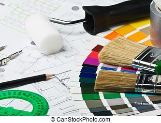 accesorios, y, herramientas, para, renovación casera