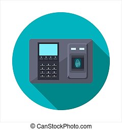 Access Control System - Vector image of intercom on a round...