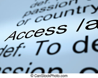 Access Definition Closeup Showing Permission To Enter A ...