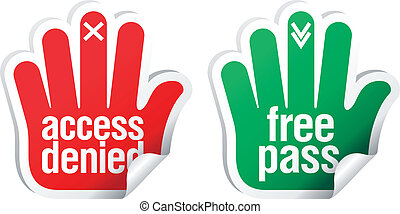 Access denied and free pass stickers