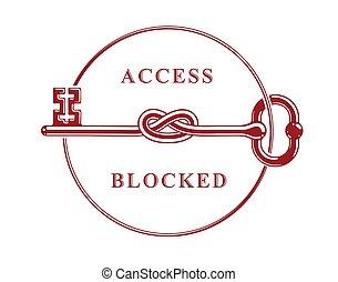 Access Denied, Knotted key allegorical symbol, vintage ...