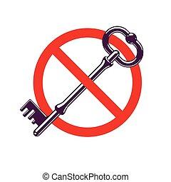 Access Denied, turnkey key allegorical symbol, vintage ...