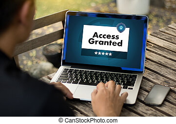 Access Granted Anytime Available Businessman working at ...
