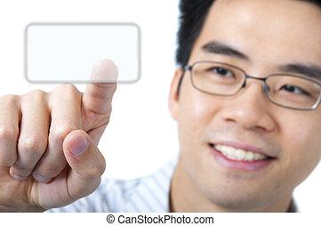 Access here - Asian business man pressing a touchscreen...