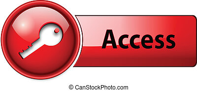access icon, button - access, enter icon button, red glossy.