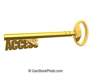 access key  - 3d rendered illustration of a golden key
