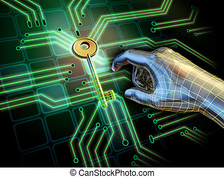 Hand reaching for a key located at the center of a printed circuit board. Digital illustration.