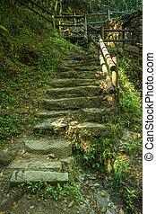 Access ladder to Cabreia's park in Sever do Vouga, Aveiro, Portugal.