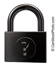access - padlock with question mark on white background - 3d...