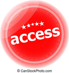 access red stickers on white, icon button