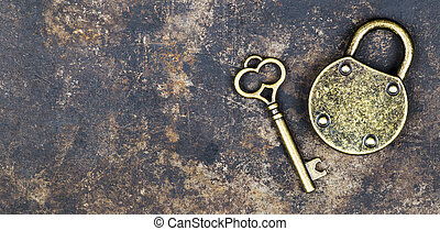 Access, security, privacy concept, key and padlock, banner