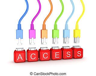 access., woord, kleurrijke, patchcords