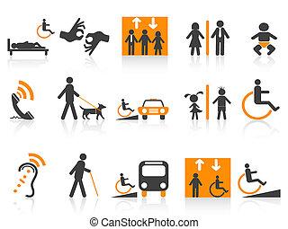 accessibilité, icônes, ensemble