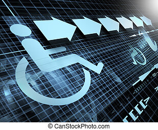 Technology abstract background with symbol of accessibility and arrows