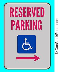 Accessible Reserved Parking Sign Right Arrow Vector