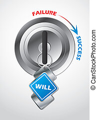 accesso, a, success..., il, chiave, è, forza volontà